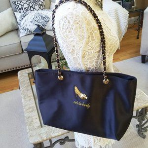 NWOT! GLAM Tote BAG WITH Chain HANDLE Gold HEELS